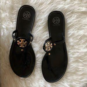 Black Tory Burch Mini Miller Flat Thong Sandal